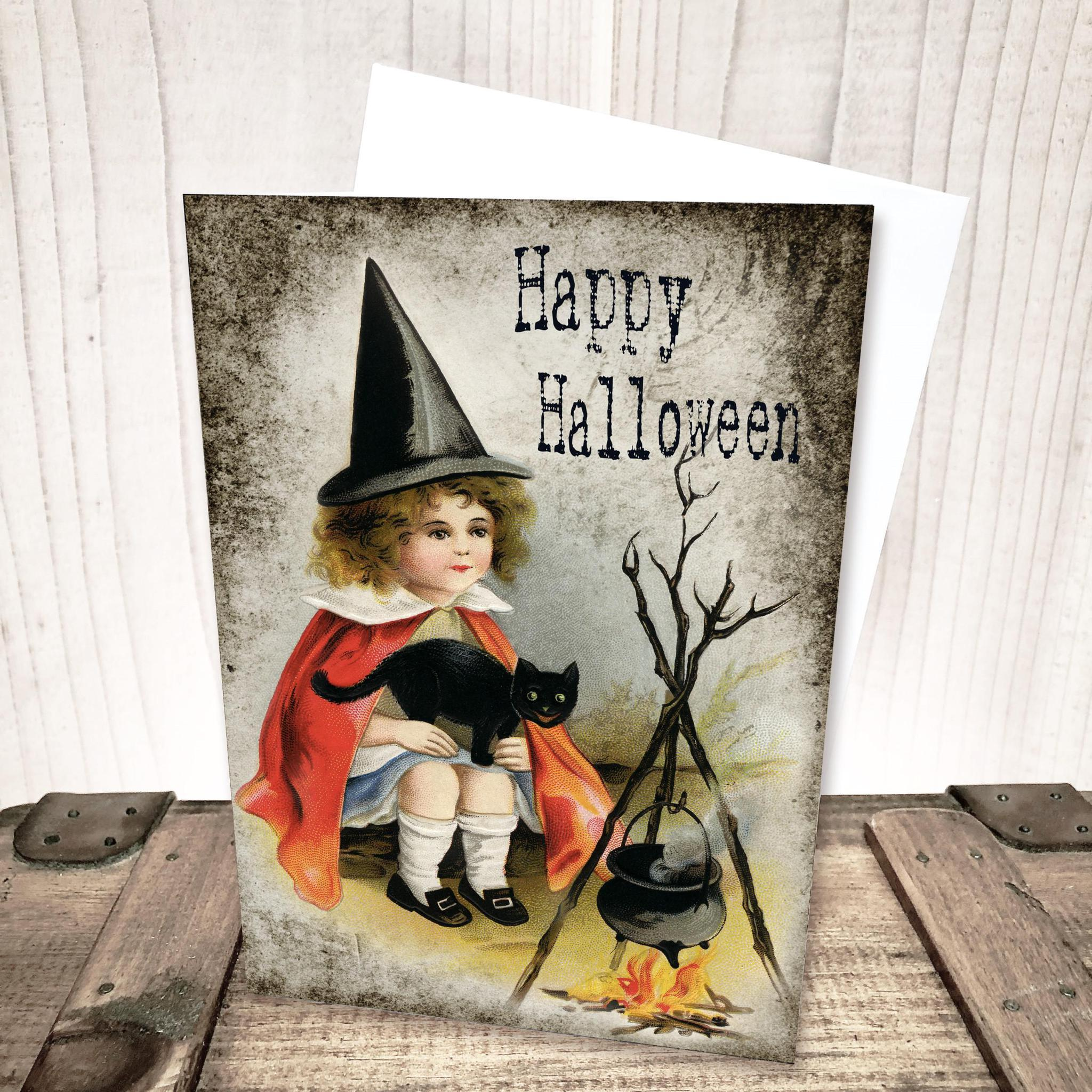 Cute Little Witch Halloween Card by Yesterday's Best