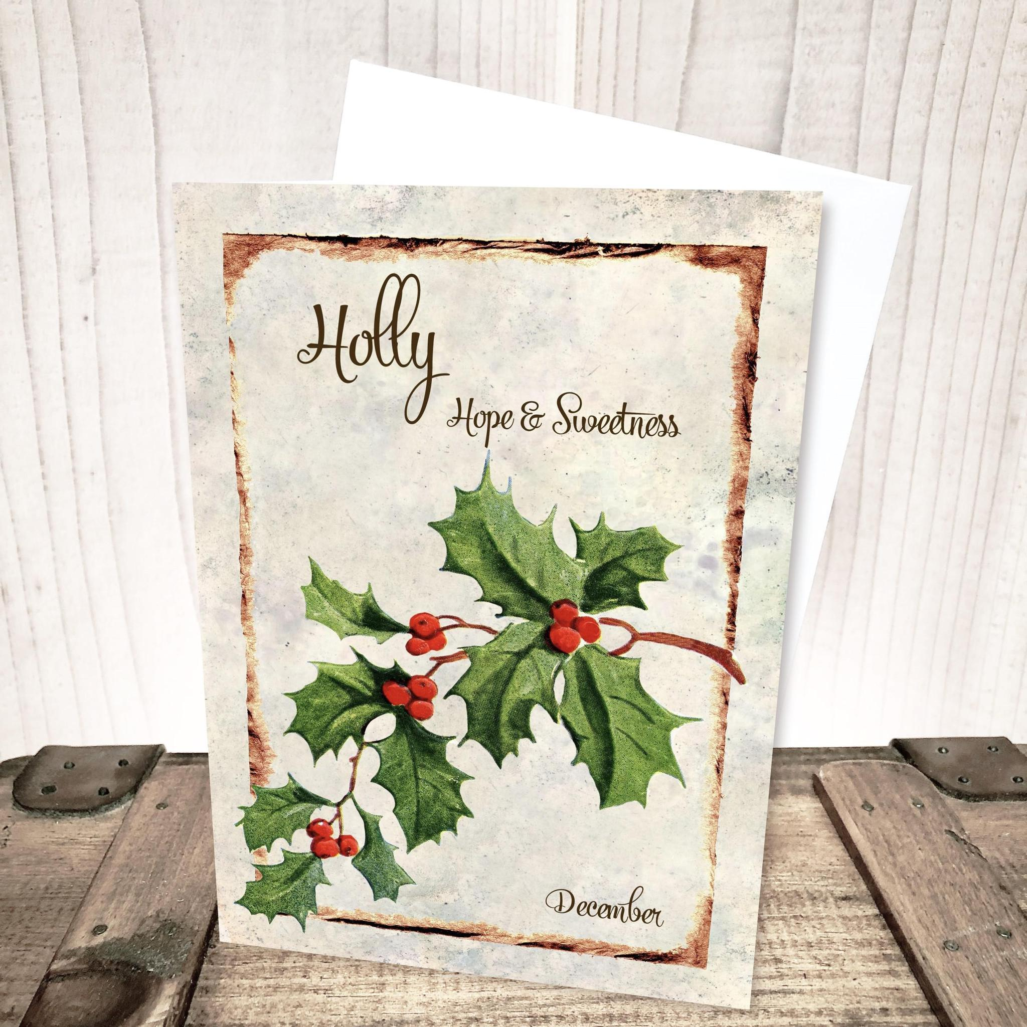 December Holly Flower Card by Yesterday's Best