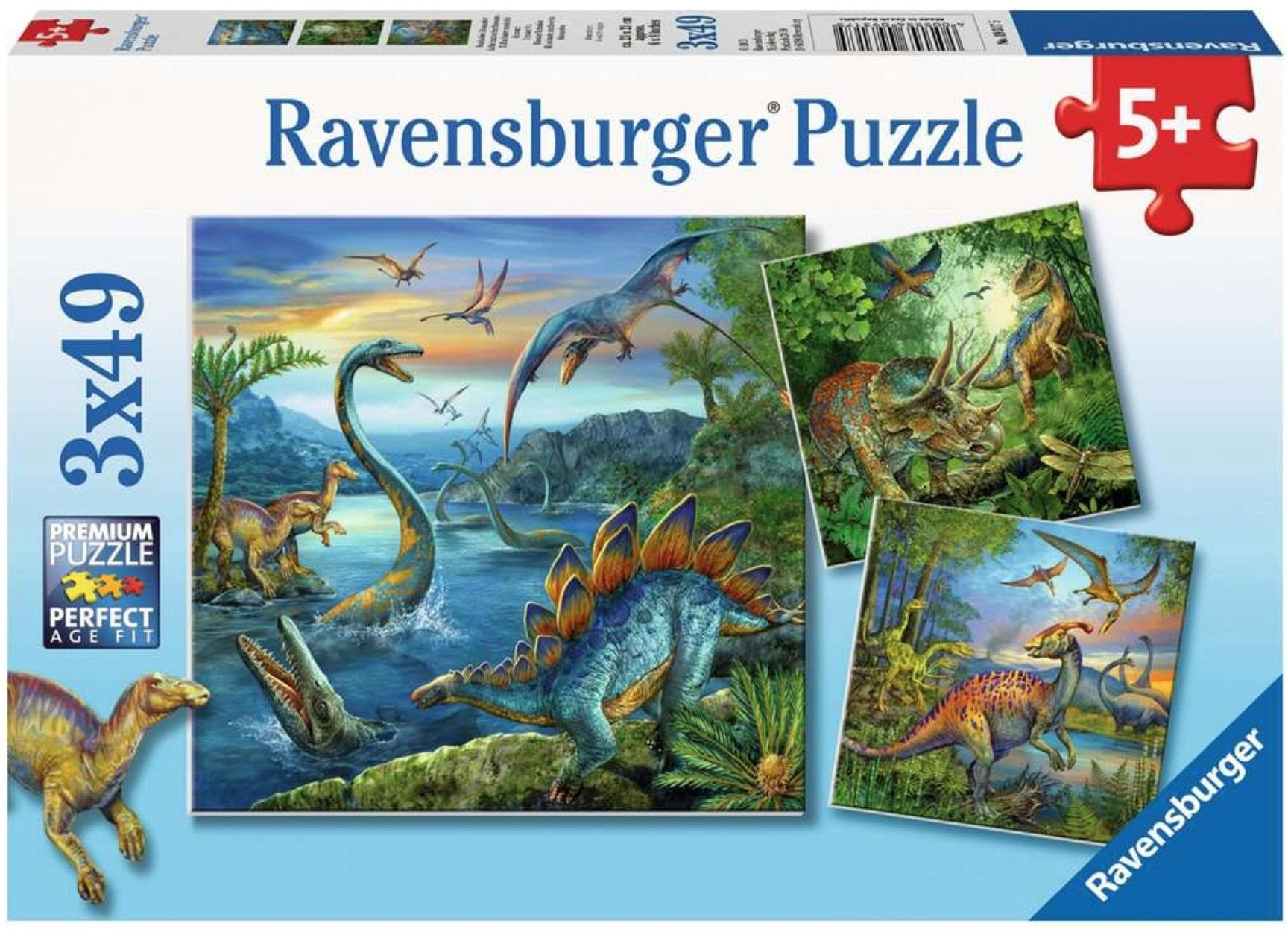 Dinosaur Fascination 3 x 49 Piece Puzzles by Ravensburger