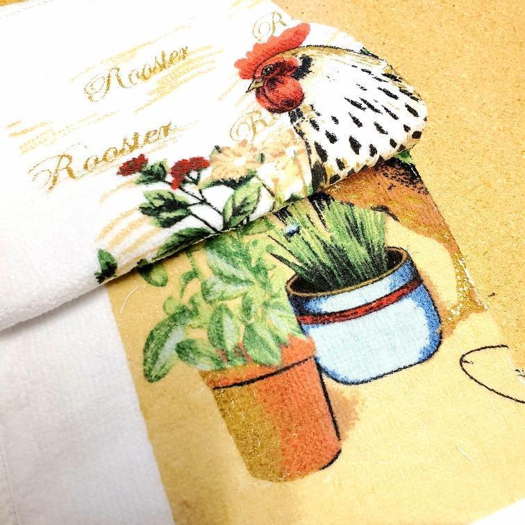 Garden Rooster Kitchen Linens Dishcloth