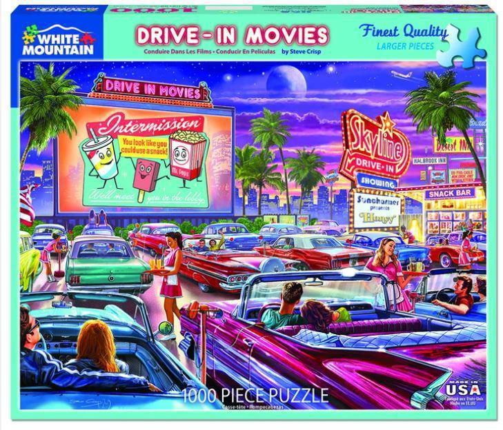 Drive-In-Movies 1000 Piece Jigsaw Puzzle by White Mountain Puzzle