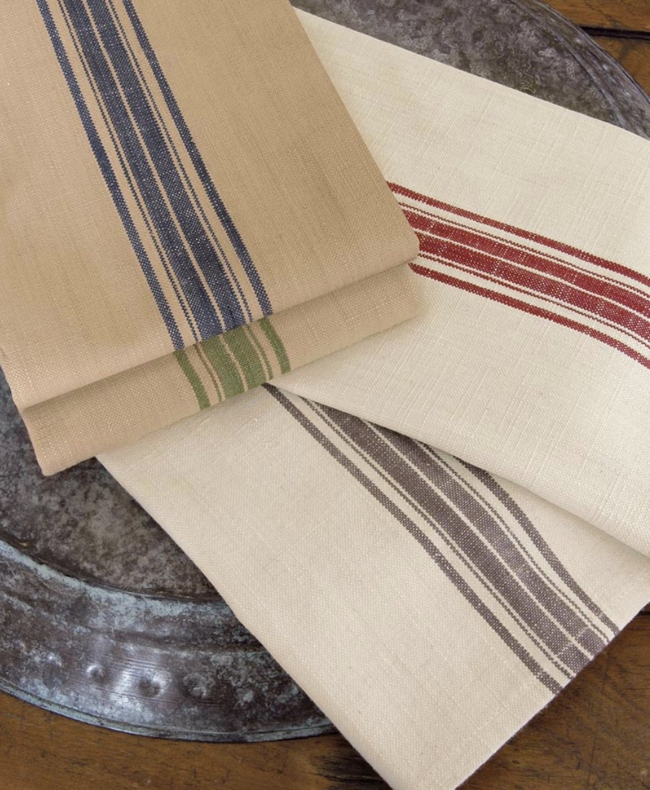 Farmhouse Kitchen Tea Towel w/ Stripes