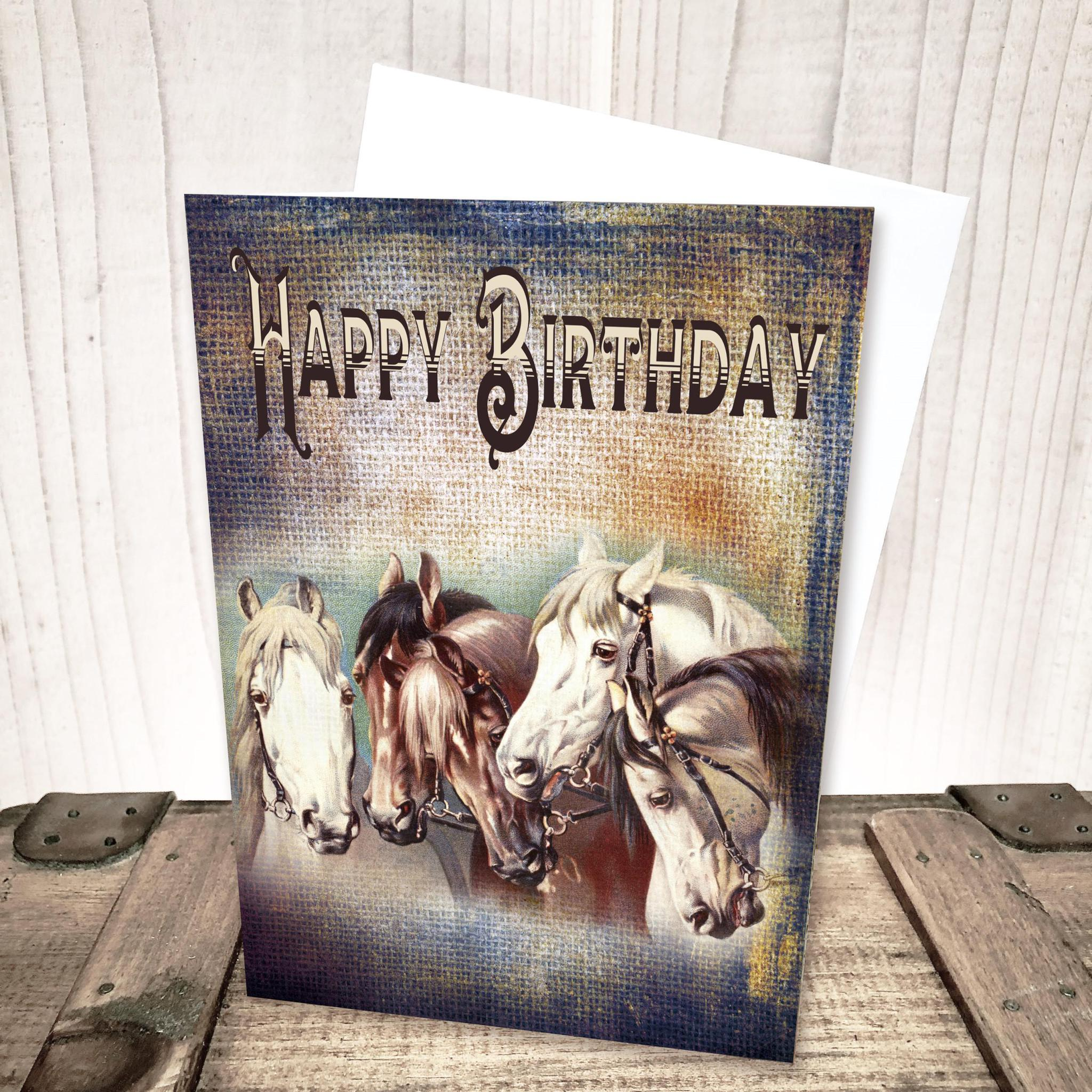 Five Horses Birthday Card by Yesterday's Best