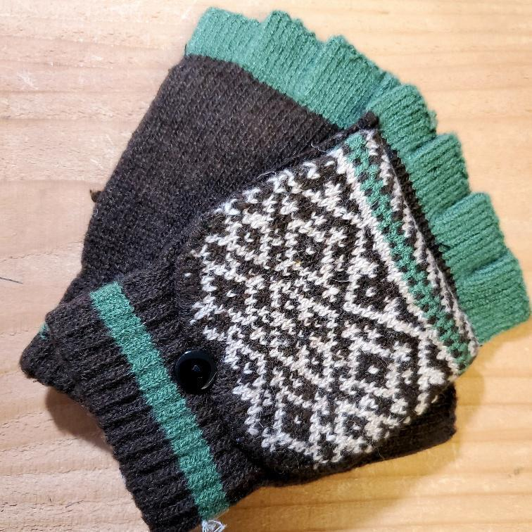 Women's Fingerless Gloves with Convertible Mitten Flap Forest