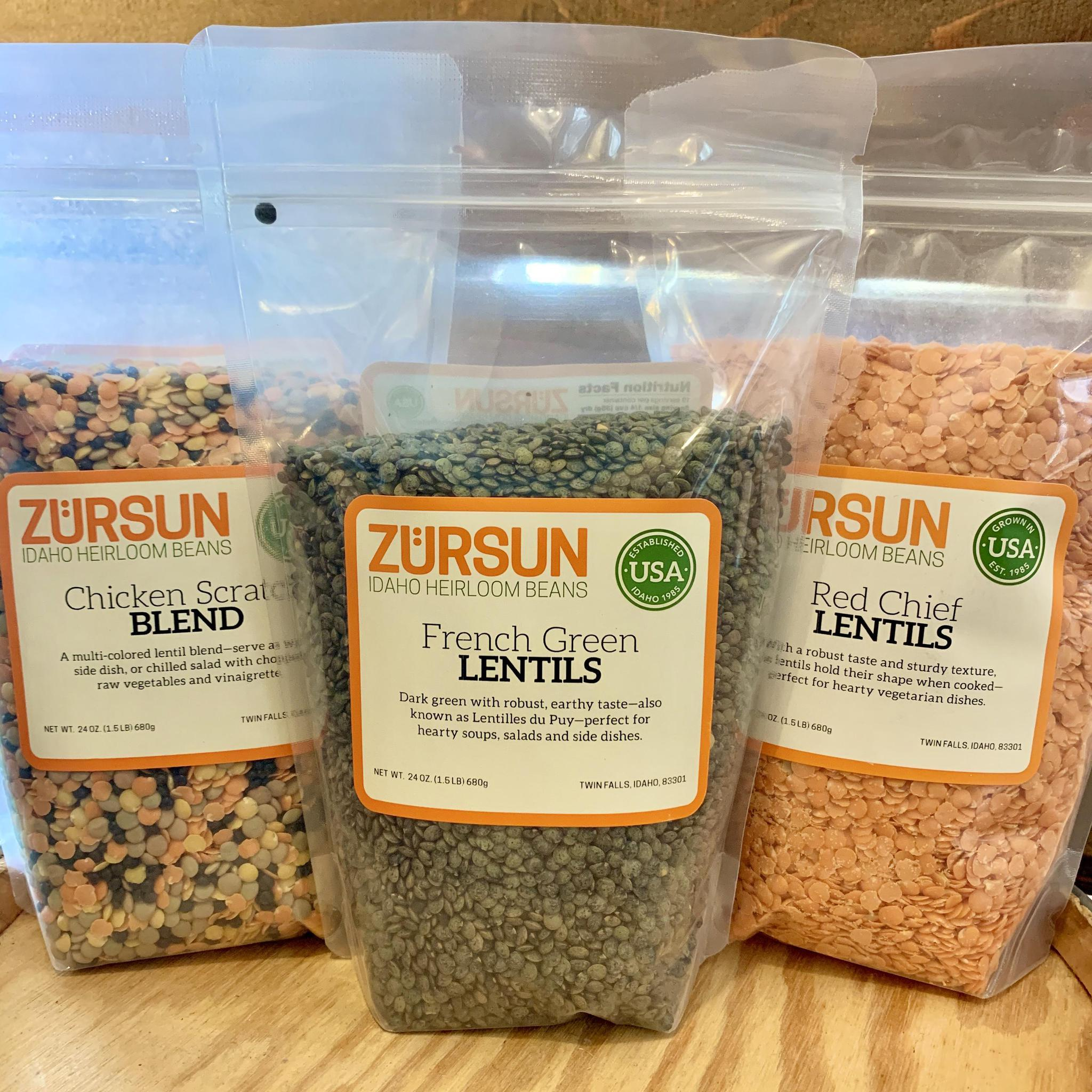 Lentil Blends by Zürsun Idaho Heirloom Beans French Green Lentil