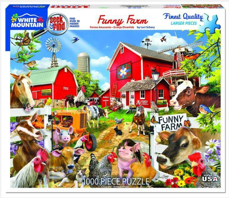 Funny Farm - Seek and Find 1000 Piece Jigsaw Puzzle by White Mountain Puzzle