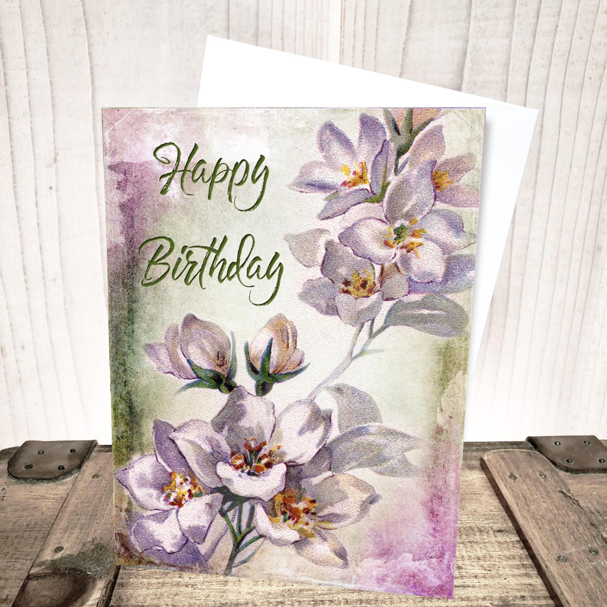 Gardenia Floral Birthday Card by Yesterday's Best