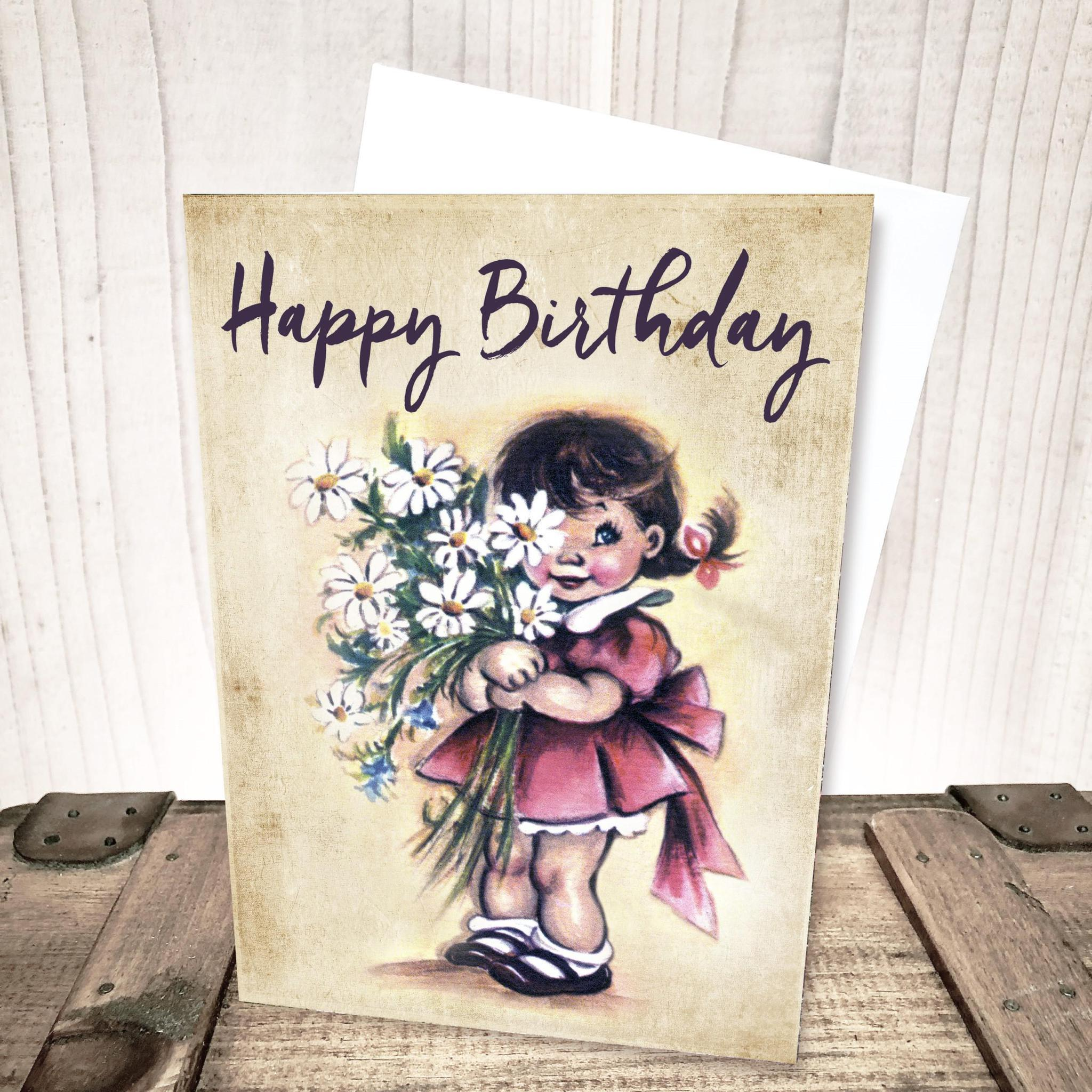 Girl and Daisies Birthday Card by Yesterday's Best