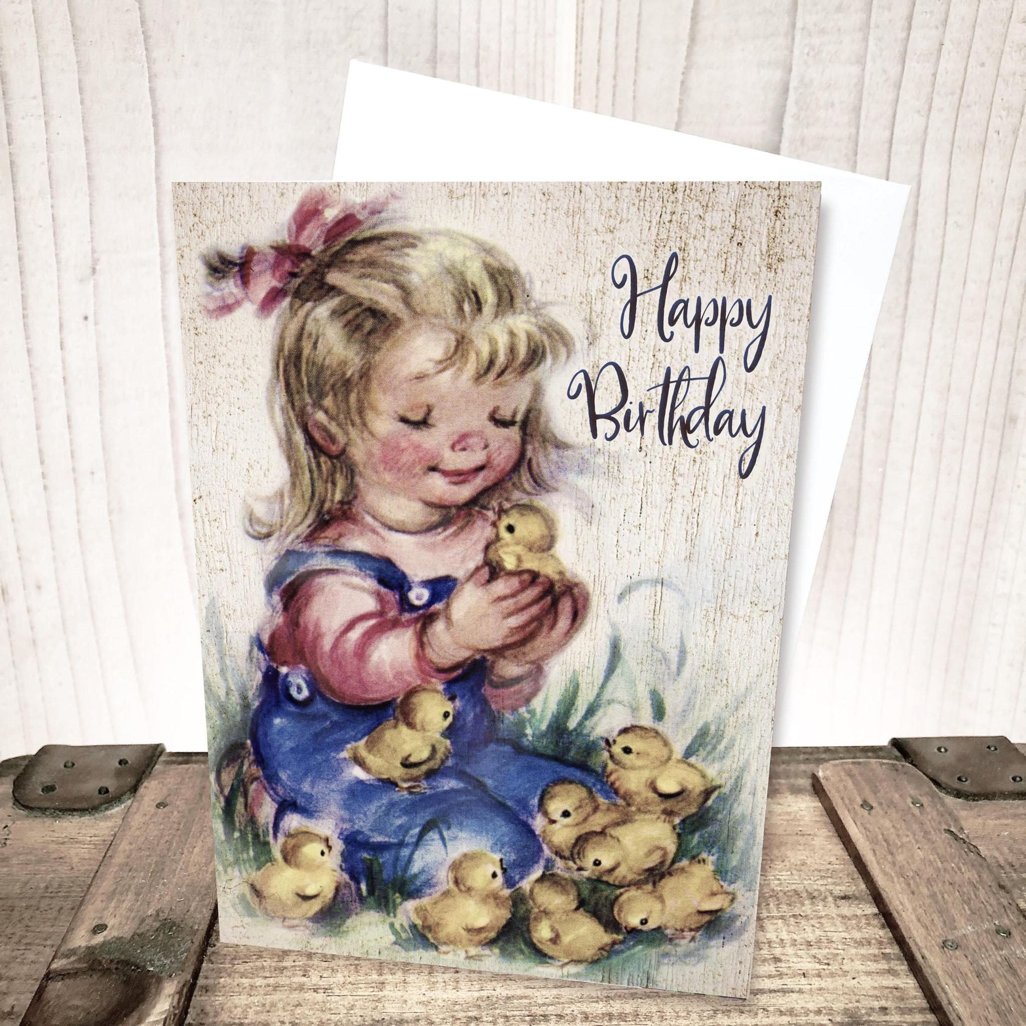 Girl with Chicks Birthday Card by Yesterday's Best