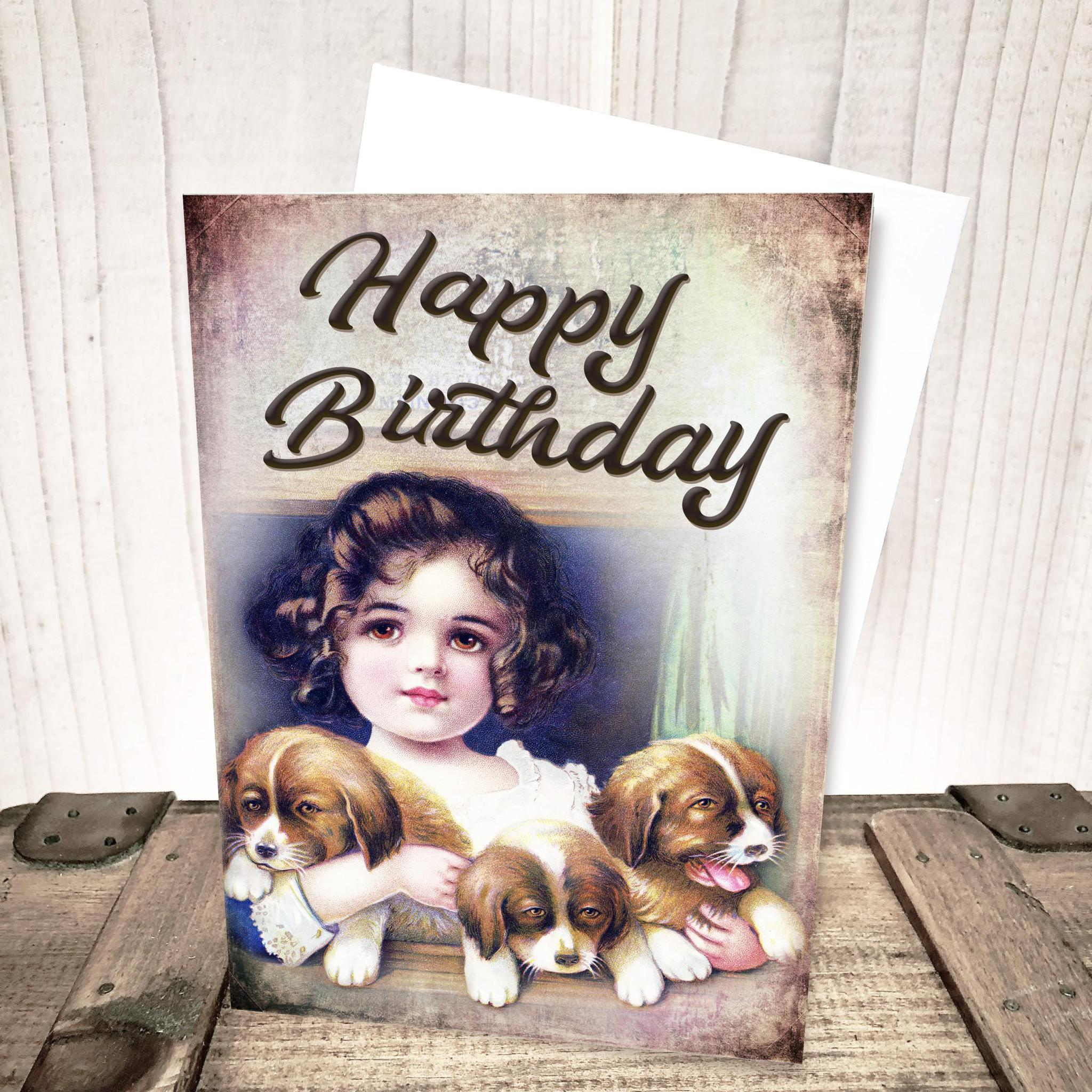 Girl with Puppies Birthday Card by Yesterday's Best
