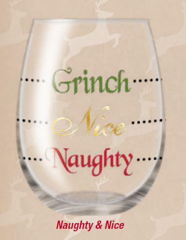 Holiday Wine Glasses Grinch, Nice & Naughty