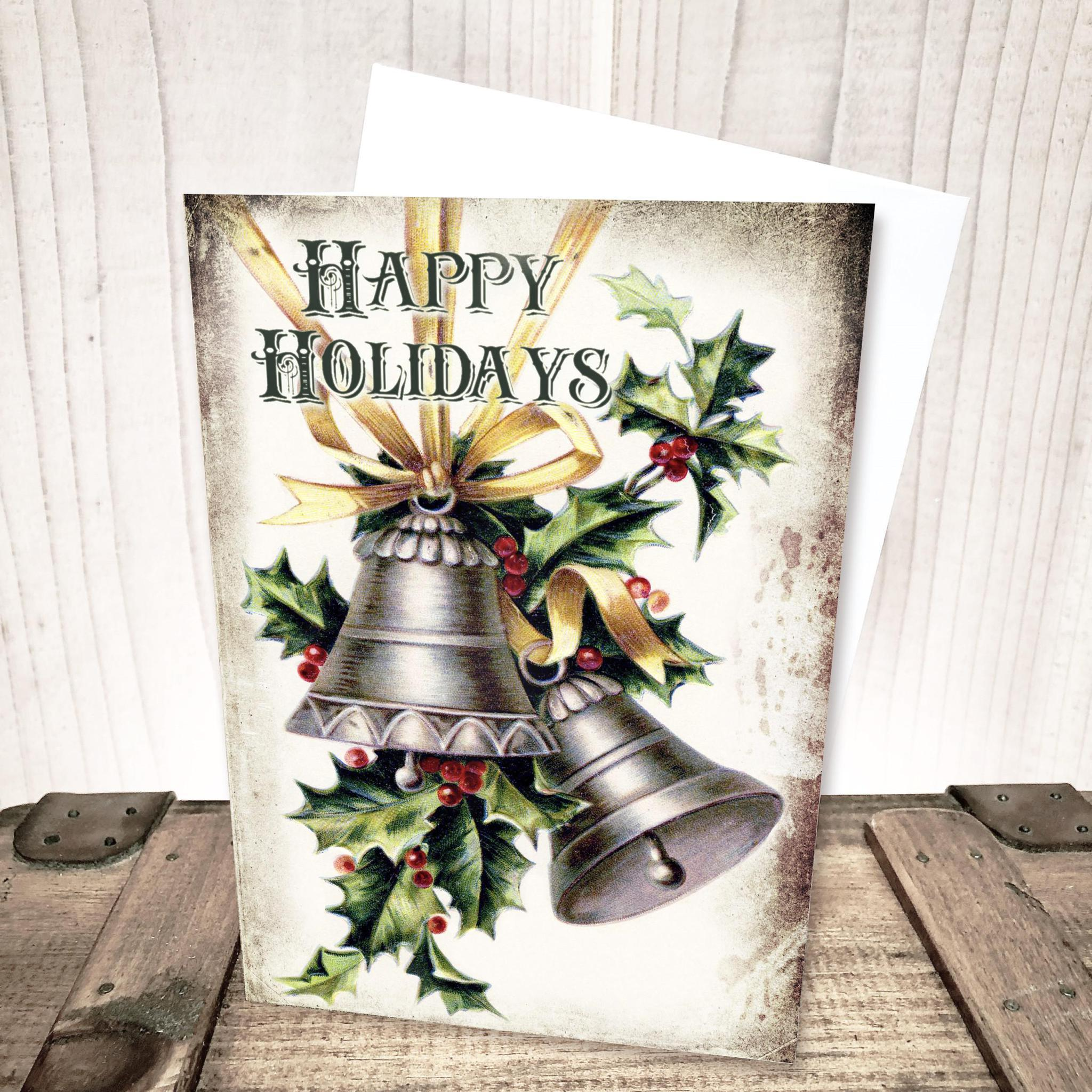 Happy Holidays Bells and Holly Christmas Card by Yesterday's Best