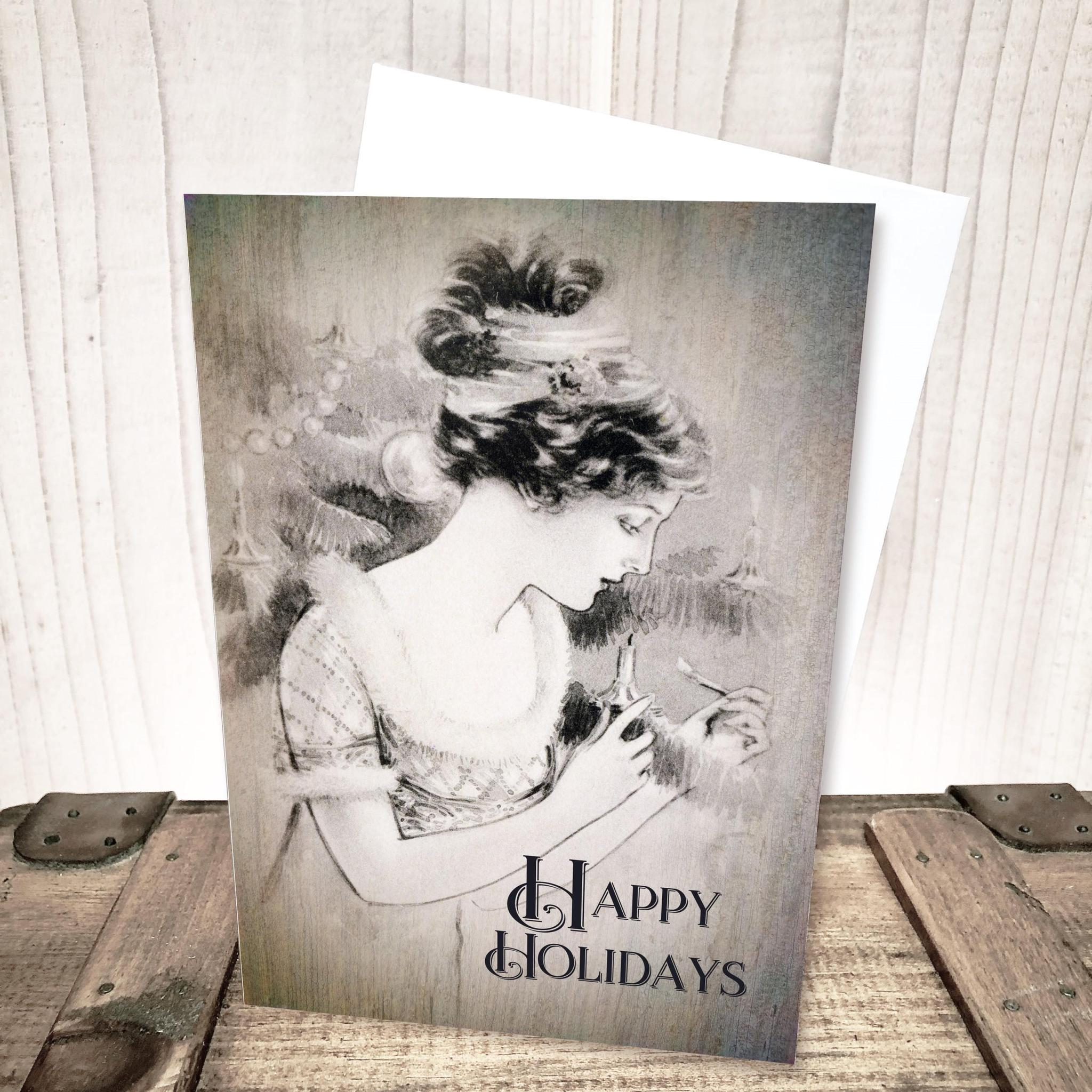 Happy Holidays Vintage Beauty Christmas Card by Yesterday's Best