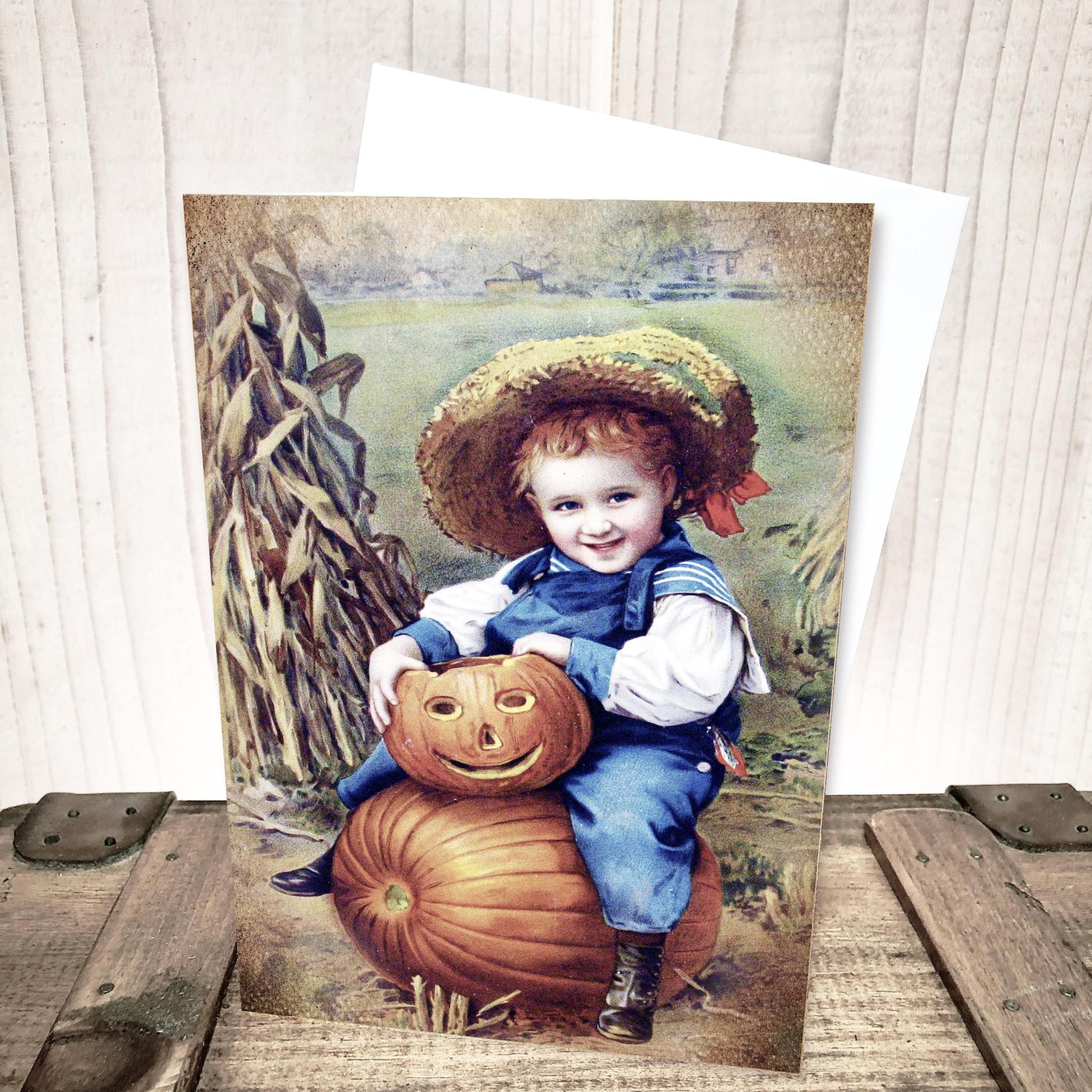 Harvest Boy Thanksgiving  Halloween Card by Yesterday's Best