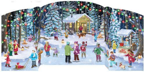 "Expandable 18"" Advent Calendars w/ Fun Glitter Holiday Pictures Holiday Skaters BB908"