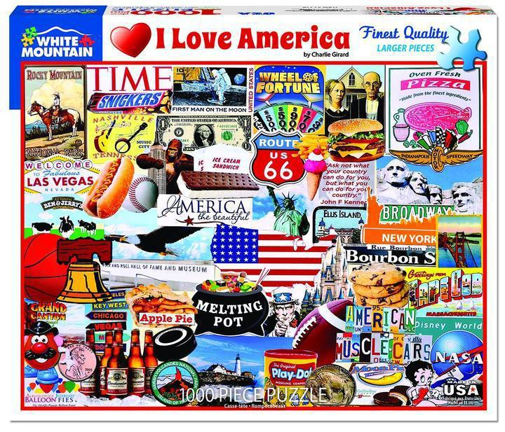 I Love America 1000 Piece Jigsaw Puzzle by White Mountain Puzzles