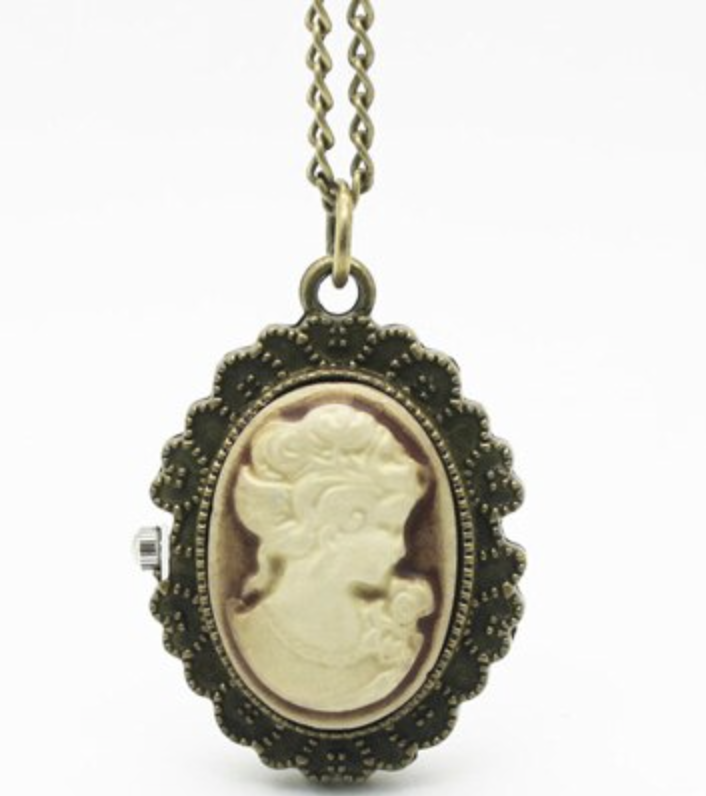 Victorian Lady Rose Fashion Jewelry Open Faced Pocket Watch Necklace Pendant Ivory Lady