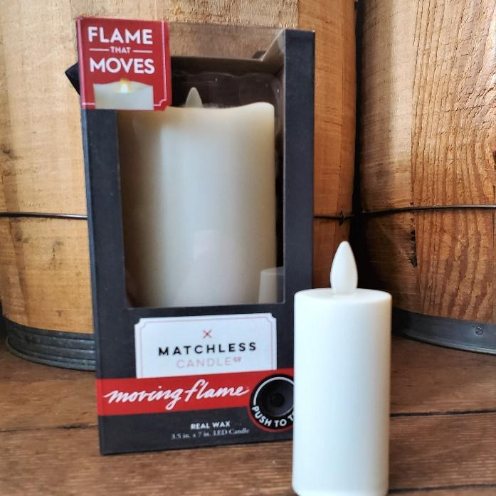 LED Matchless Candle w/ Moving Flame Large (7in)