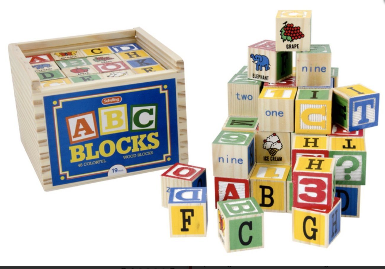 Large ABC Alphabet Blocks 48 Pieces