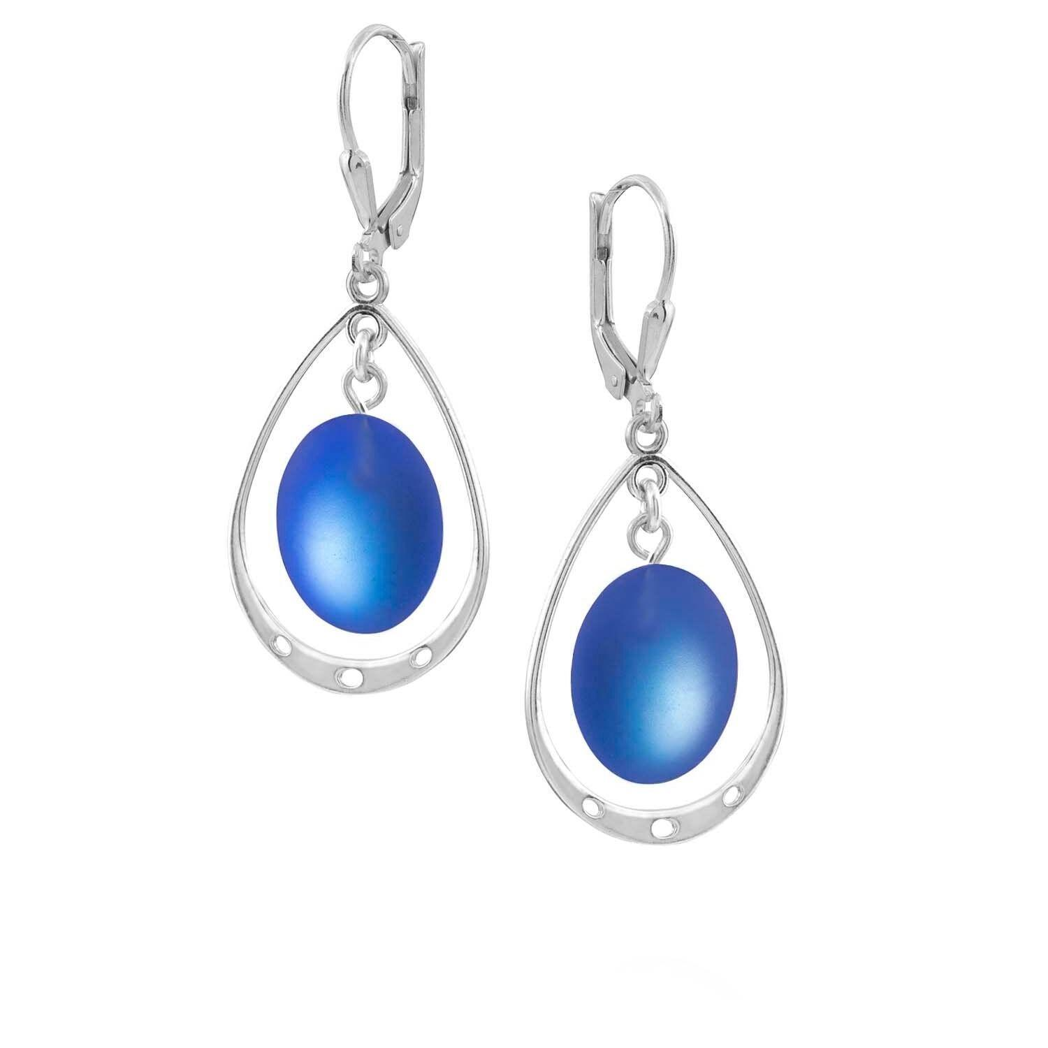 Leightworks Crystal Drop Oval Loop Earrings Frosted Blue