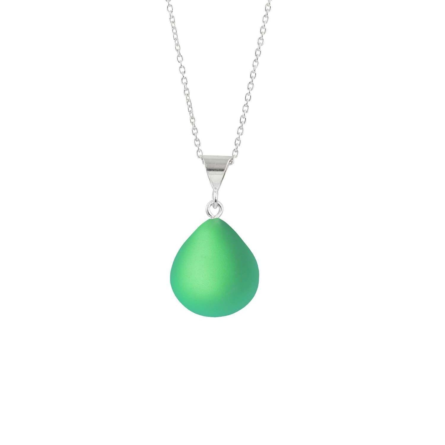 Leightworks Crystal Small Drop Pendant Frosted Green