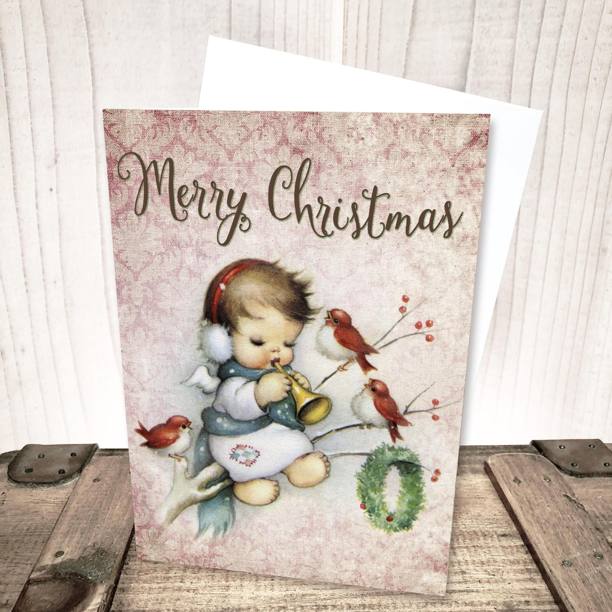 Little Angel with Red Birds Merry Christmas Card by Yesterday's Best