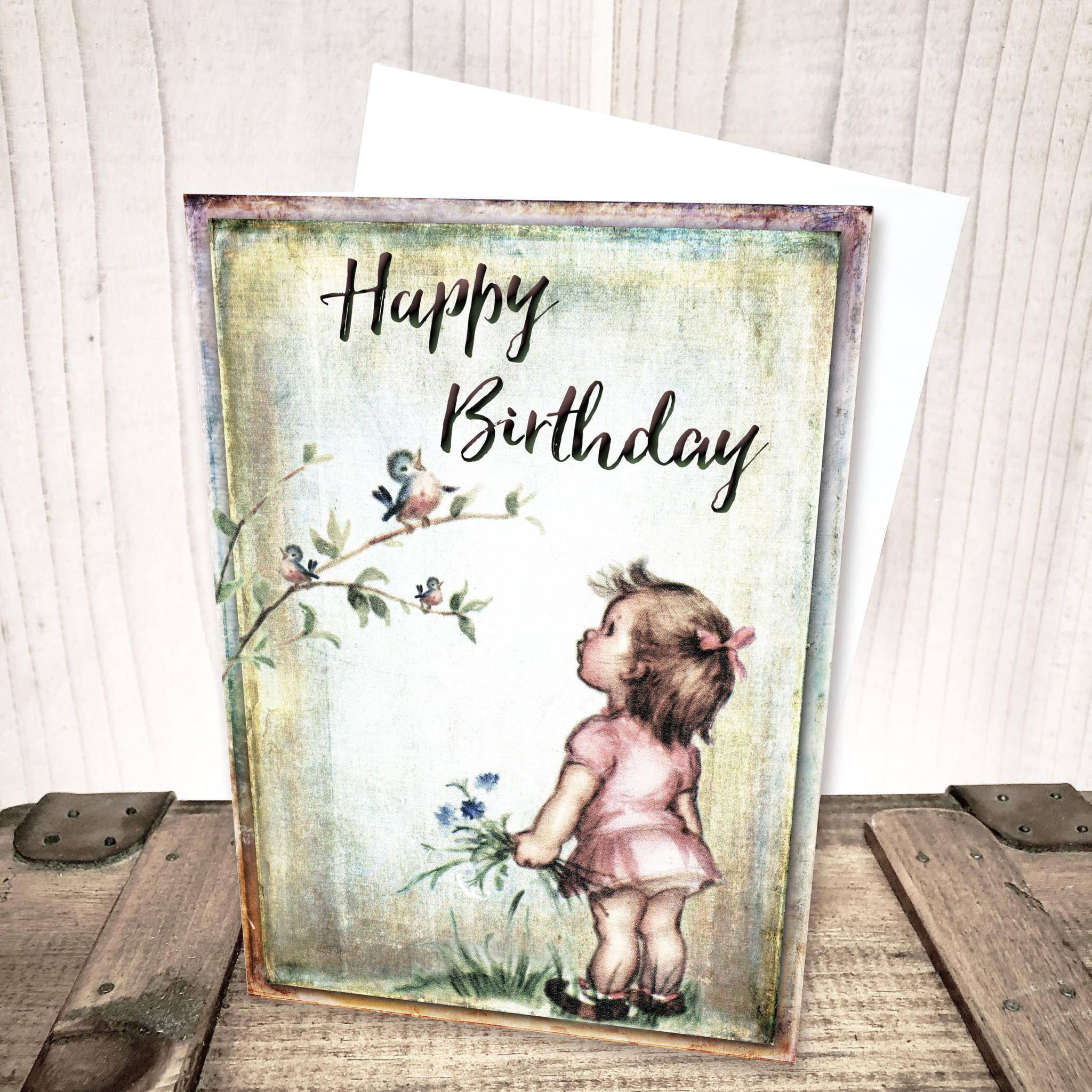 Little Girl with Bird Birthday Card by Yesterday's Best