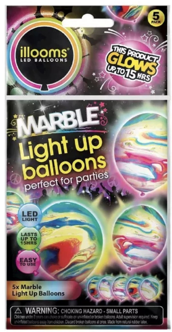 illooms LED Light Up Party Balloons: Marble, Punch & Mixed Colors! Marble (5)