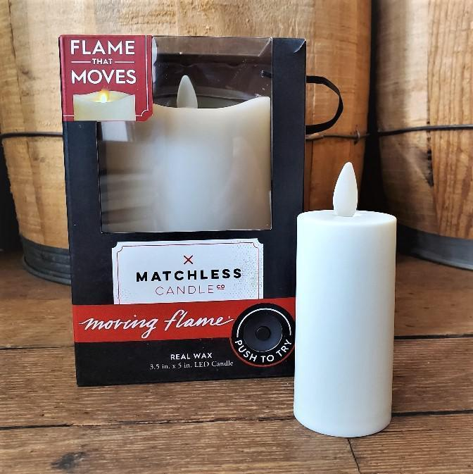 LED Matchless Candle w/ Moving Flame Medium (5in)