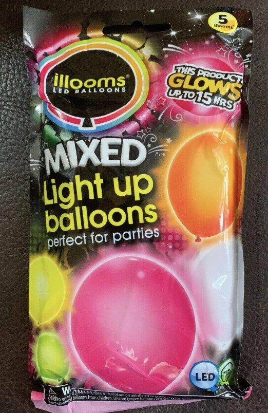 illooms LED Light Up Party Balloons: Marble, Punch & Mixed Colors! Mixed (5)