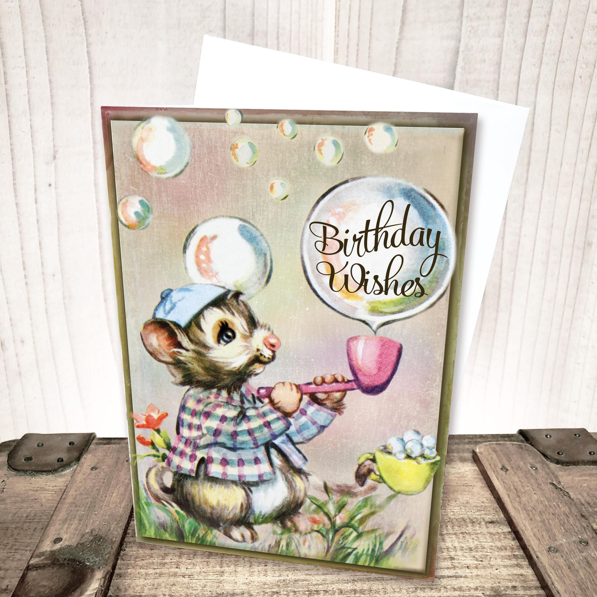 Mouse blowing Bubbles Birthday Card by Yesterday's Best