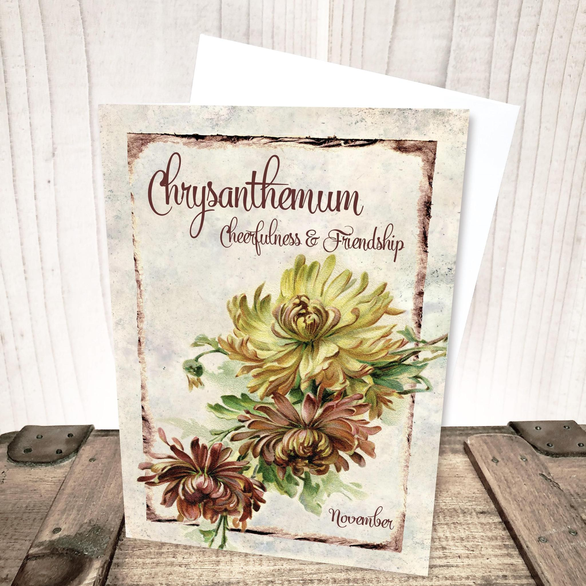 November Chrysanthemum Flower Card by Yesterday's Best