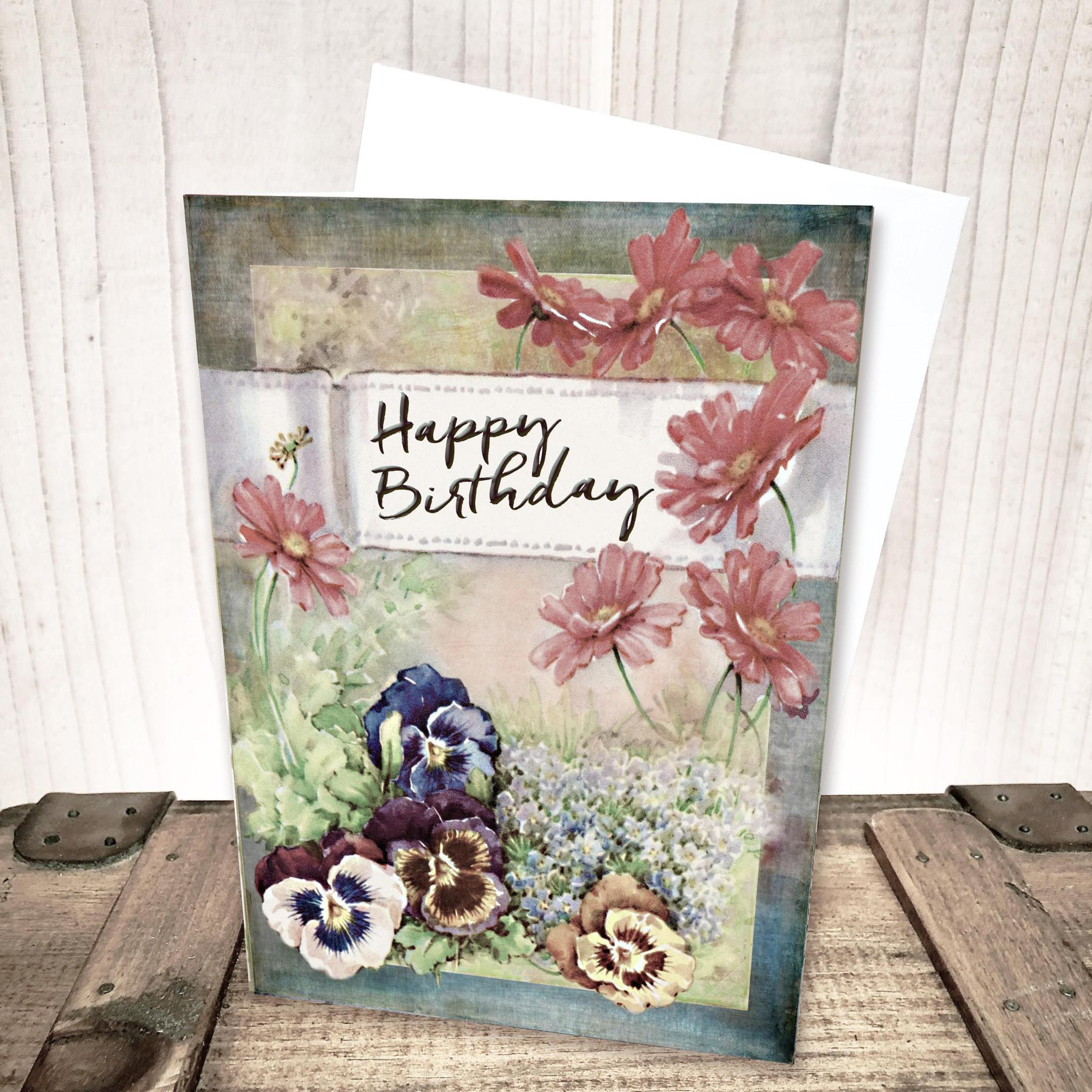 Pansy Floral Birthday Card by Yesterday's Best