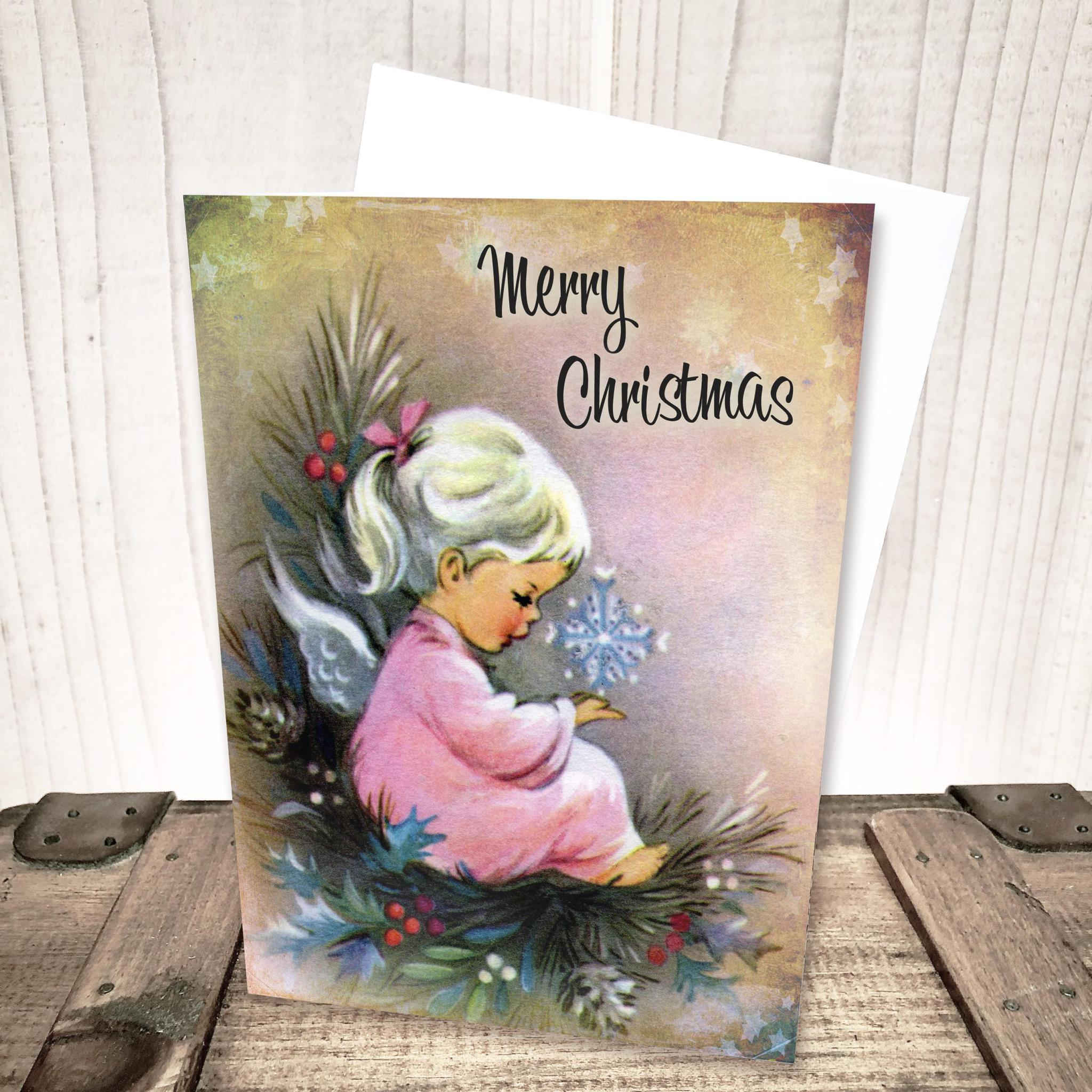 Pink Angel Merry Christmas Card by Yesterday's Best
