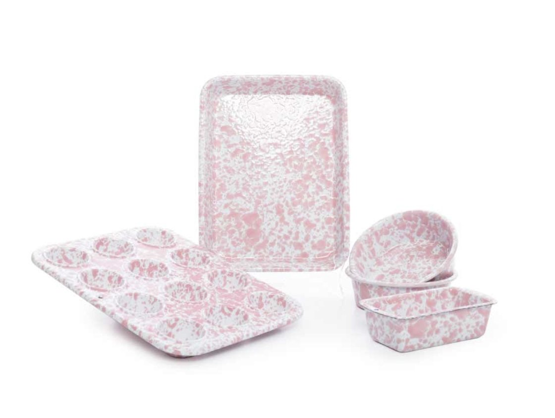 Children's Enamelware First Bake Set Splatterware Pink Marble