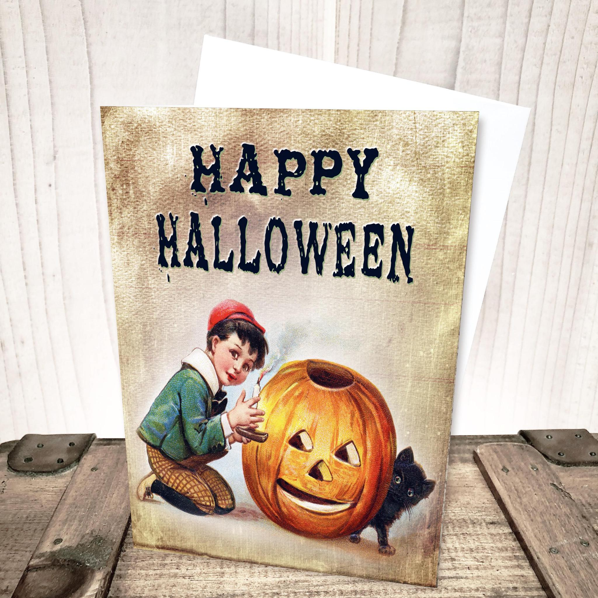 Pumpkin Carving Boy Halloween Card by Yesterday's Best