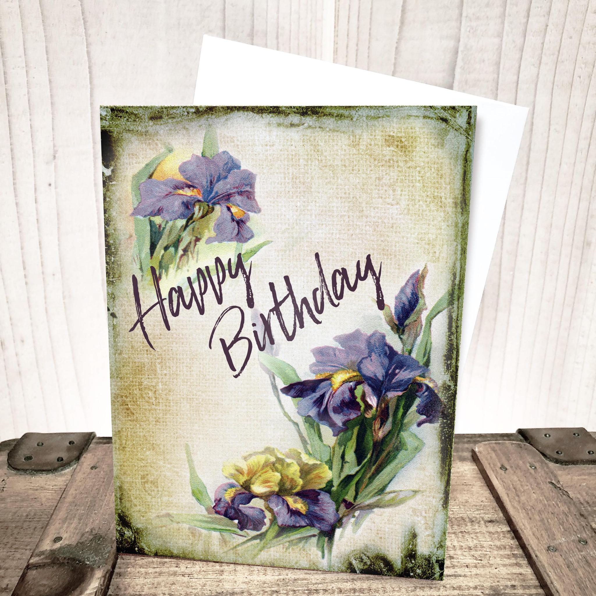 Purple Iris Floral Birthday Card by Yesterday's Best