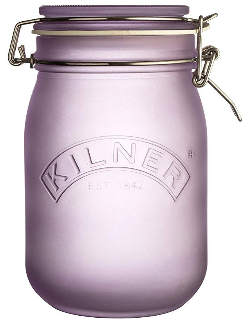 Kilner White Frosted Clip Top Jar, 1L Purple