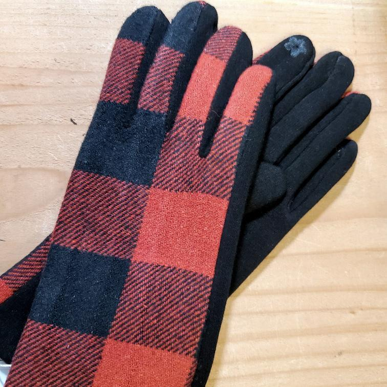 Women's Plaid Texting Gloves Red / Black Plaid