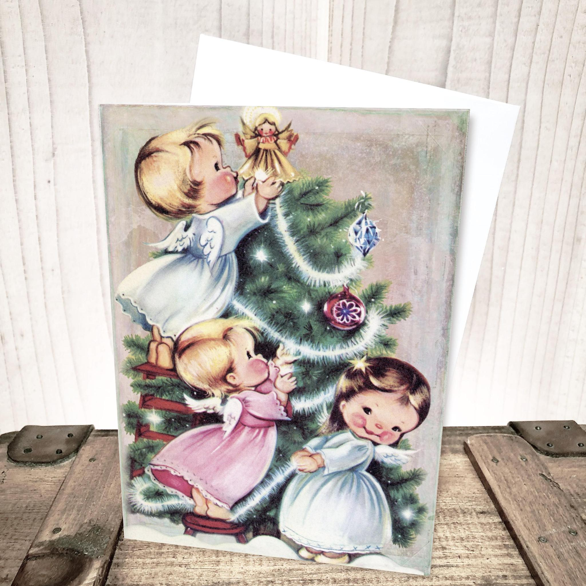 Retro Angels Decorate Tree Christmas Card by Yesterday's Best