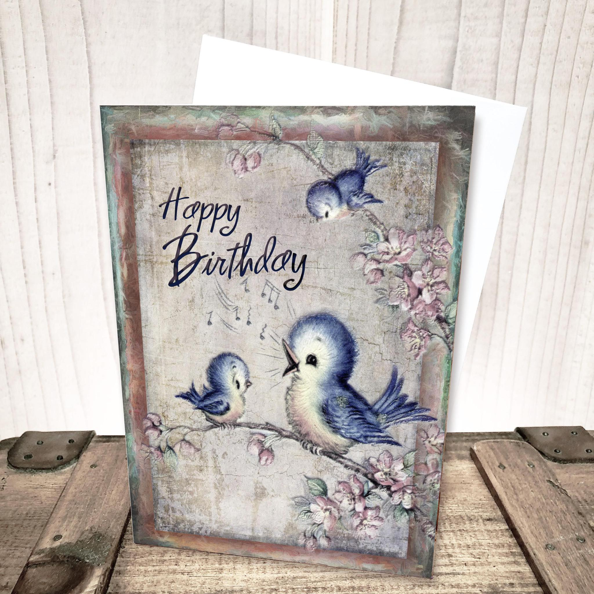 Retro Blue Birds Birthday Card by Yesterday's Best