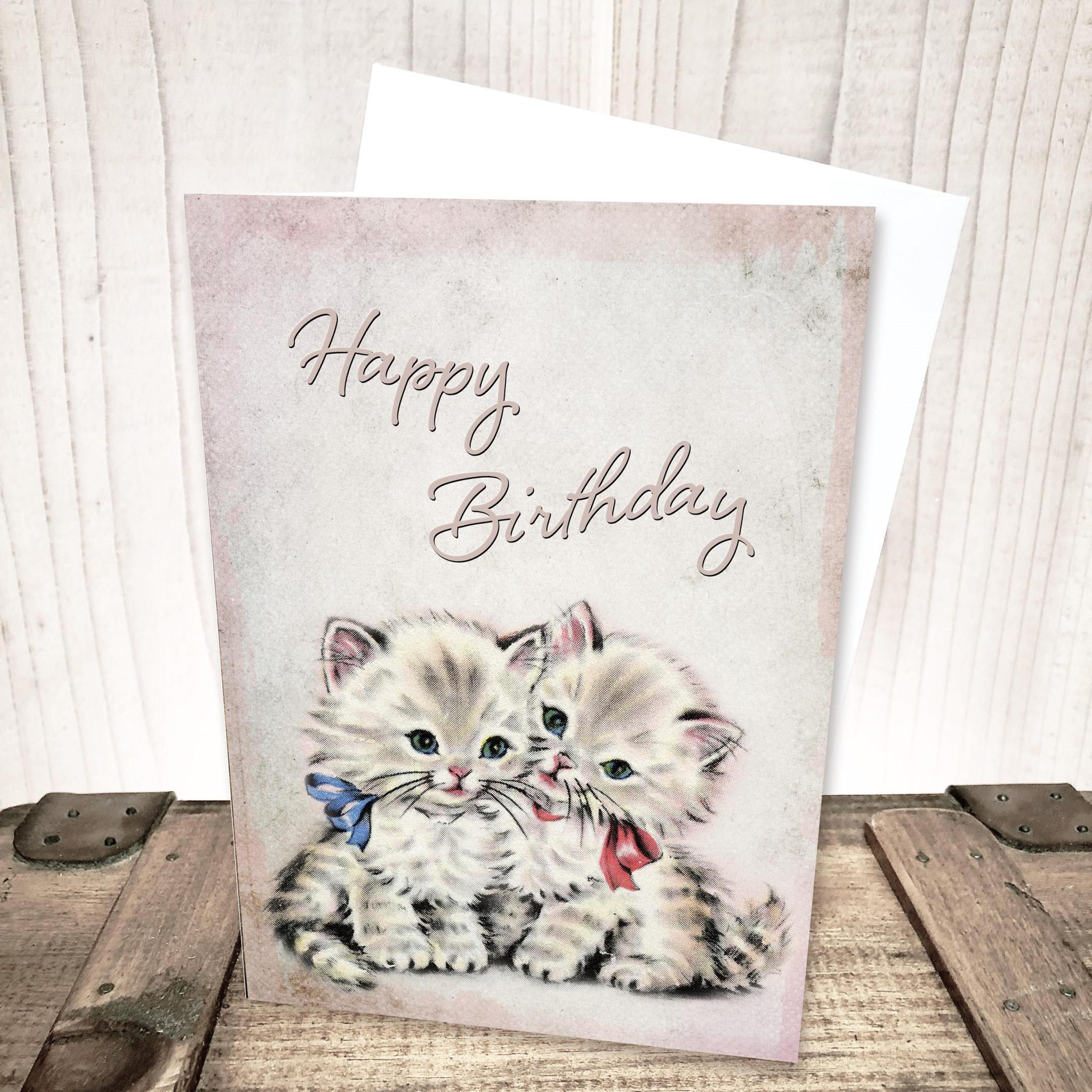 Retro Kittens Birthday Card by Yesterday's Best