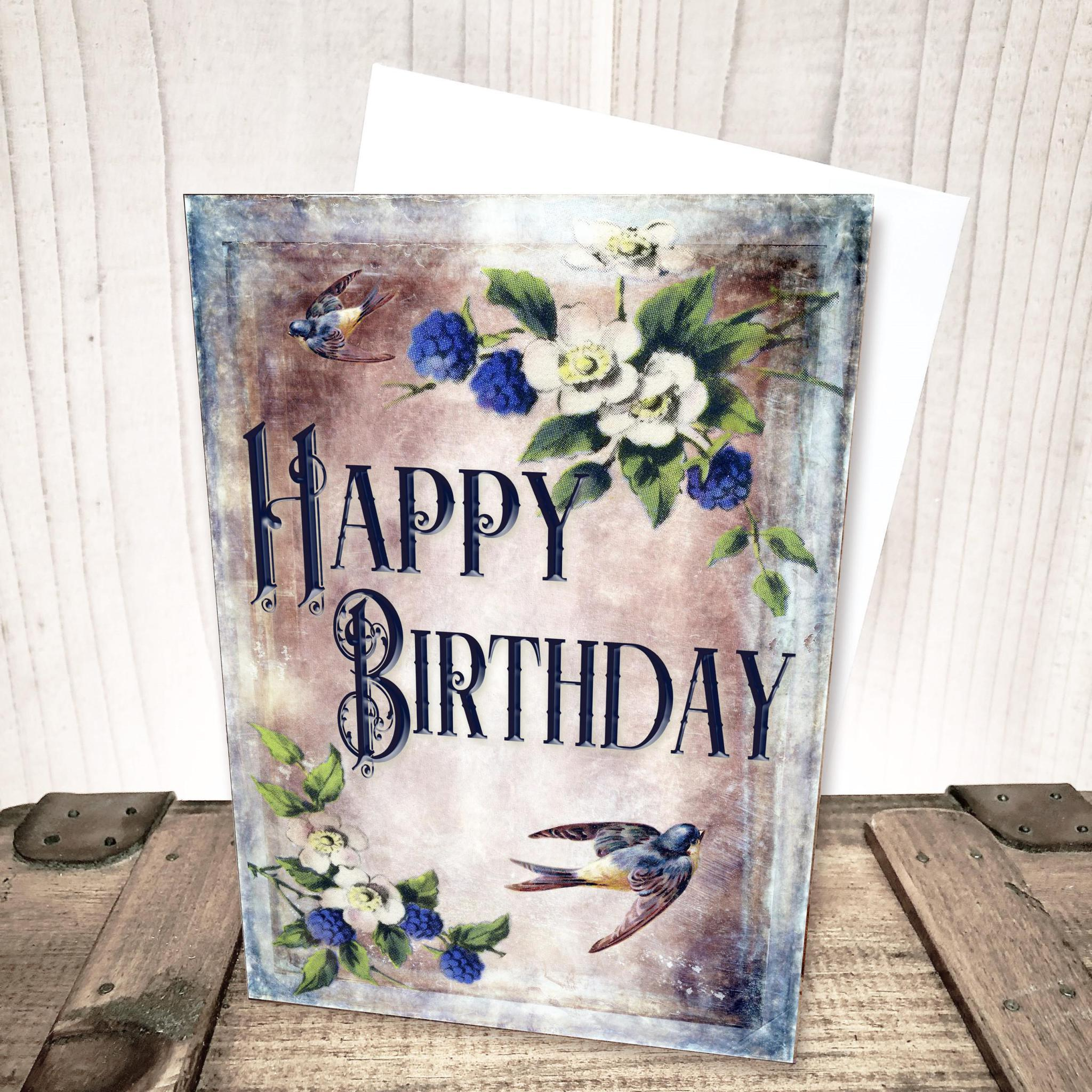 Rustic Floral Birthday Card by Yesterday's Best