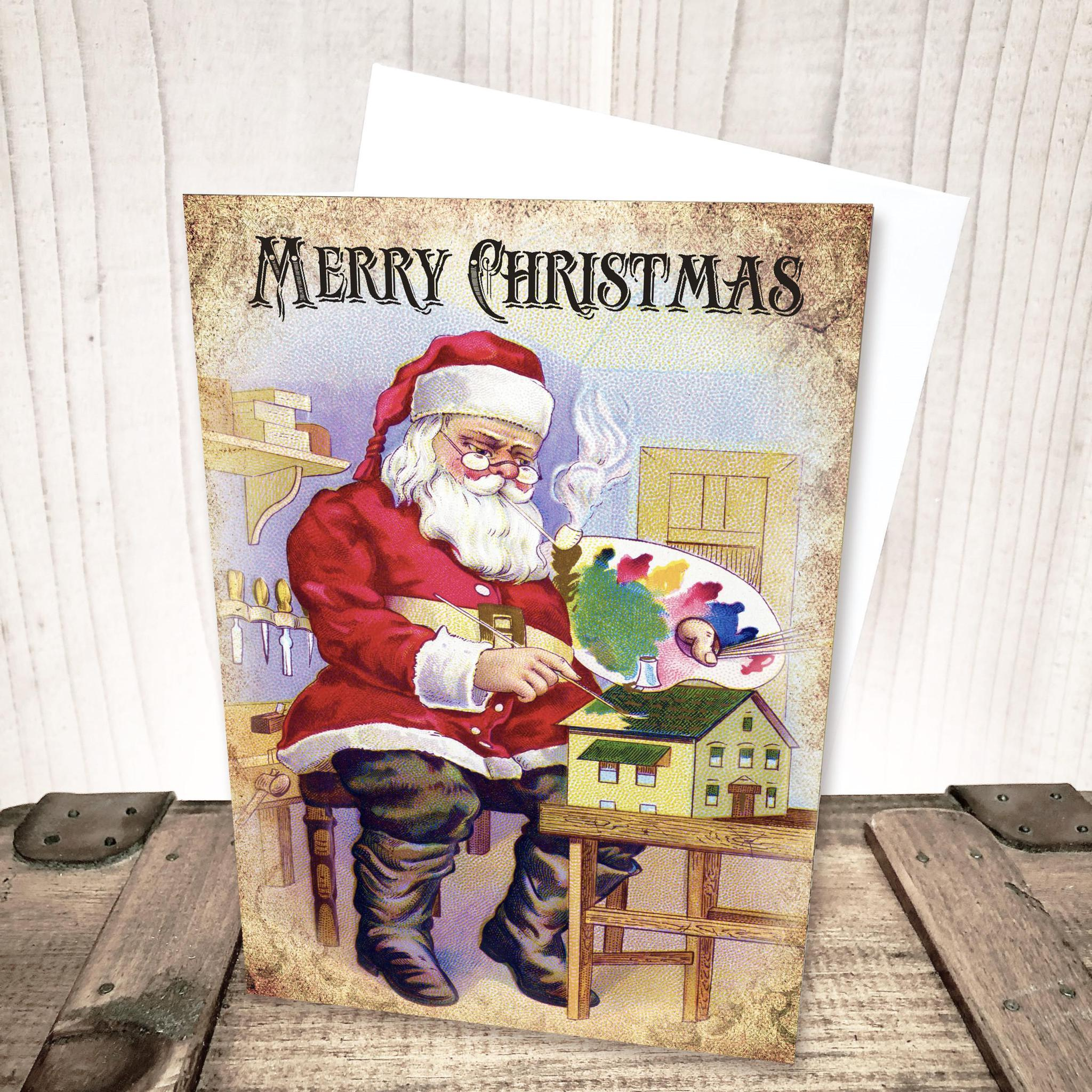Santa Painting Christmas Card by Yesterday's Best