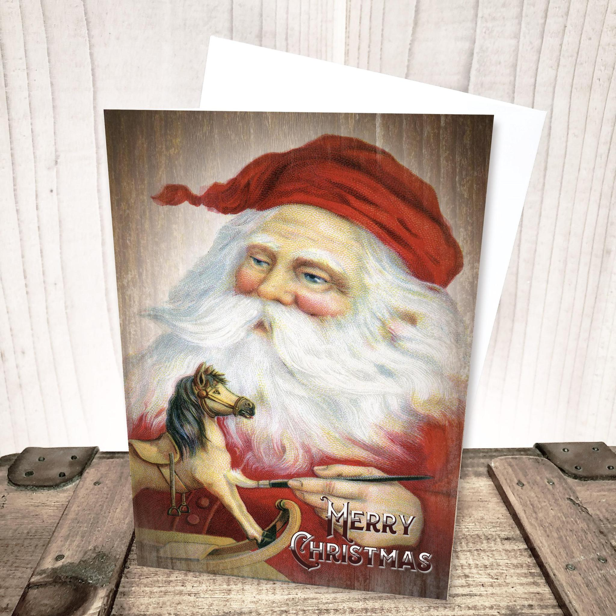 Santa Painting Toys Christmas Card by Yesterday's Best