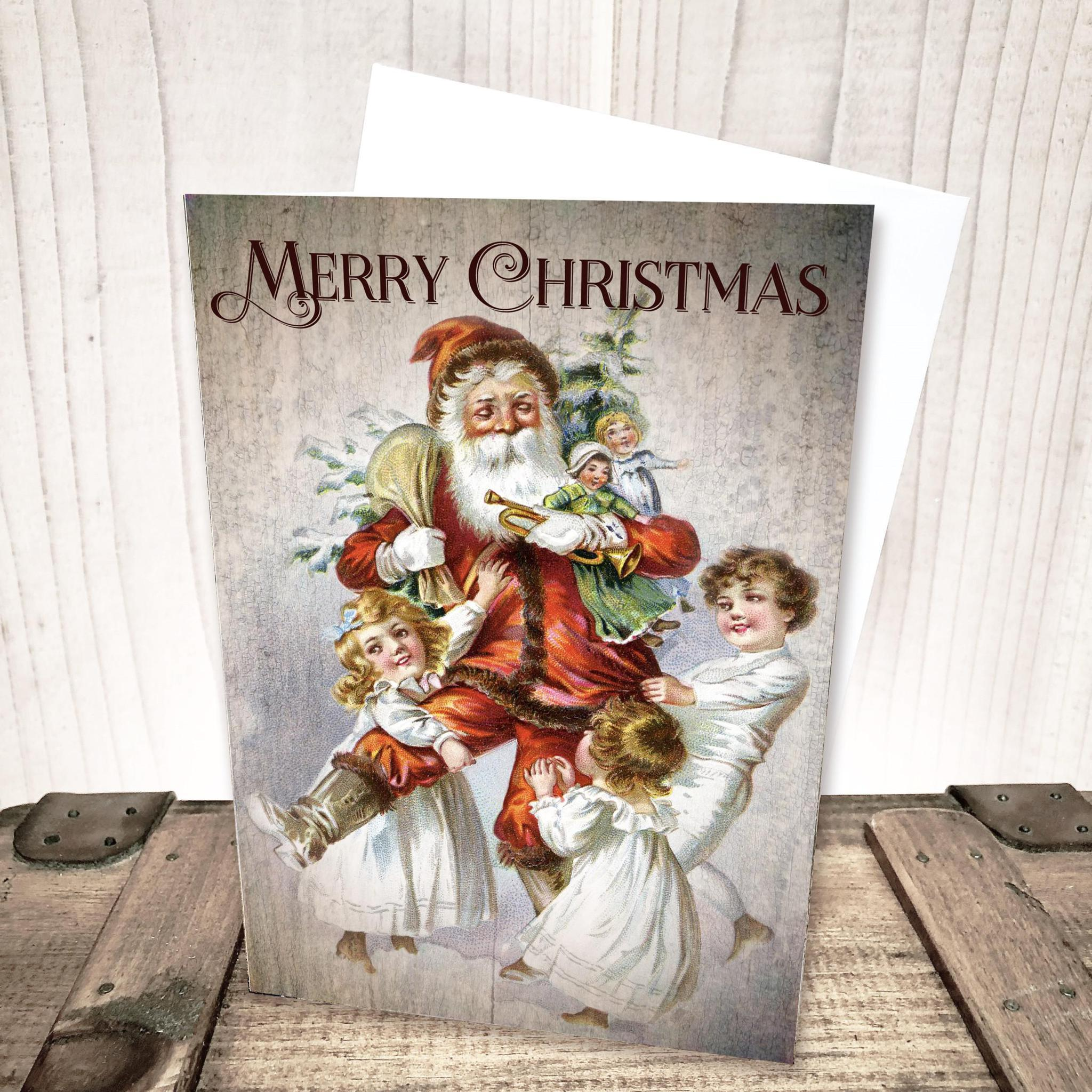 Santa With Children Merry Christmas Card by Yesterday's Best