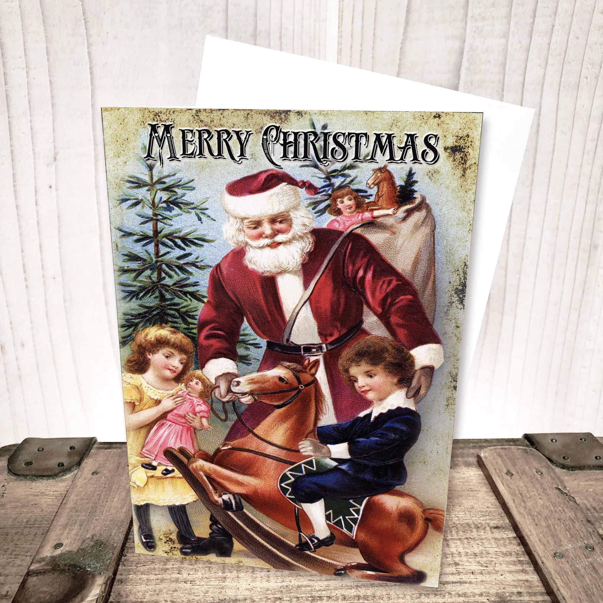 Santa with Rocking Horse Christmas Card by Yesterday's Best