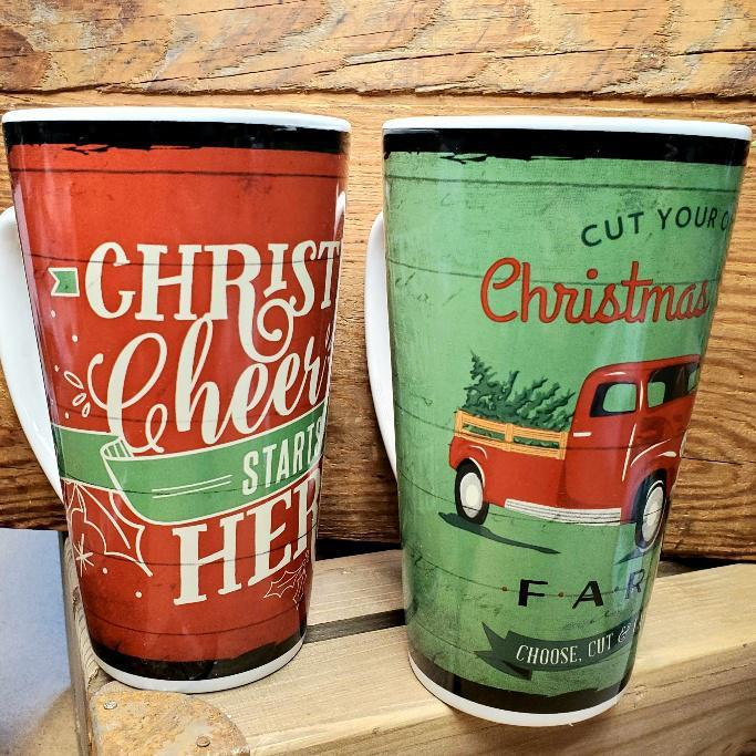 18oz Holiday Ceramic Latte Mugs Set of 4 Discount (Two of Each)