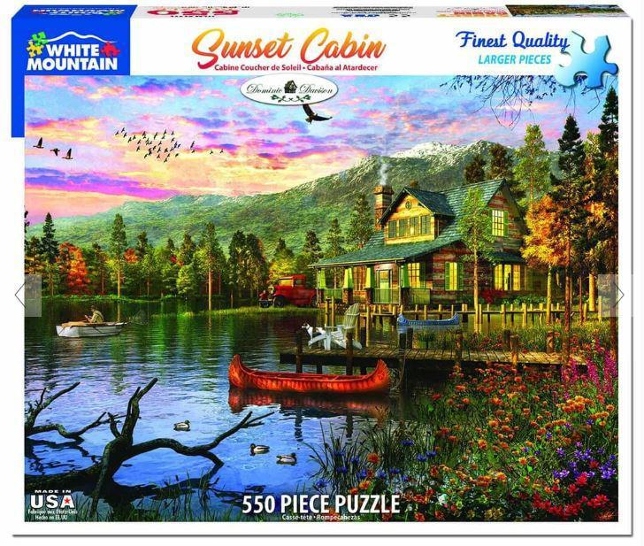 Sunset Cabin 550 Piece Jigsaw Puzzle by White Mountain Puzzle