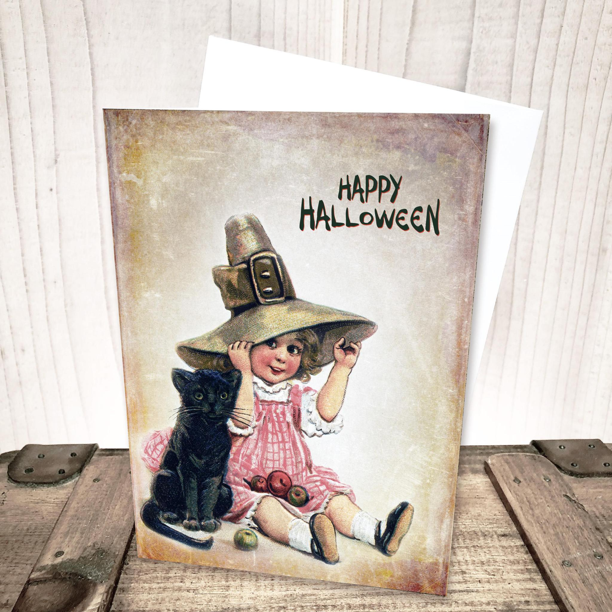 Sweet Girl with Black Cat Halloween Card by Yesterday's Best